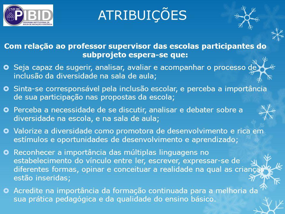 ATRIBUIÇÕES Com relação ao professor supervisor das escolas participantes do subprojeto espera-se que: