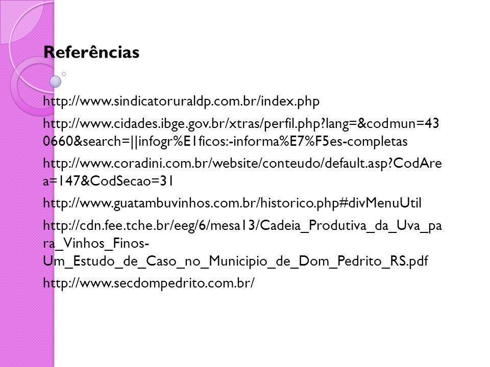Referências http://www.sindicatoruraldp.com.br/index.php