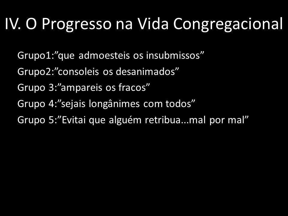 IV. O Progresso na Vida Congregacional