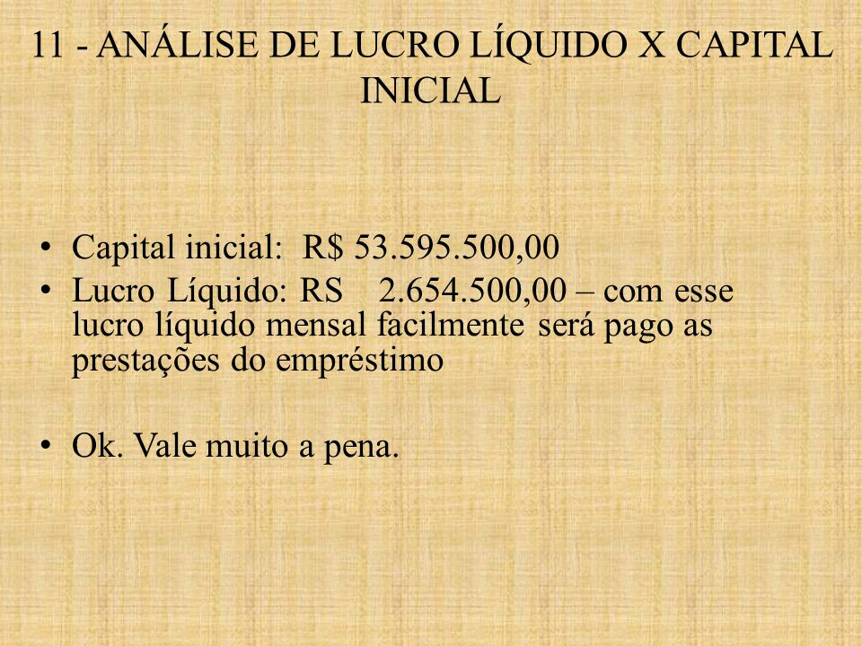 11 - ANÁLISE DE LUCRO LÍQUIDO X CAPITAL INICIAL