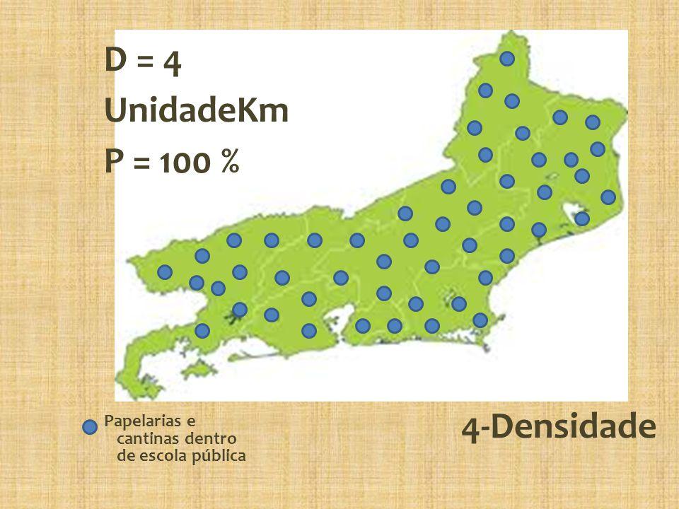 D = 4 UnidadeKm P = 100 % 4-Densidade