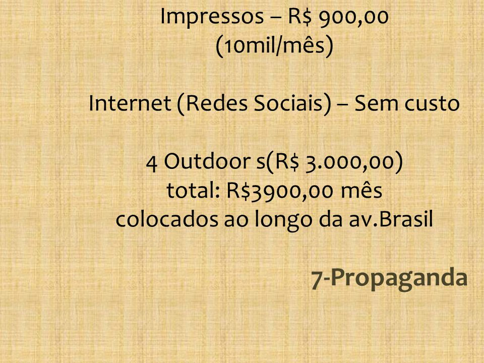 Impressos – R$ 900,00 (10mil/mês) Internet (Redes Sociais) – Sem custo 4 Outdoor s(R$ 3.000,00) total: R$3900,00 mês colocados ao longo da av.Brasil