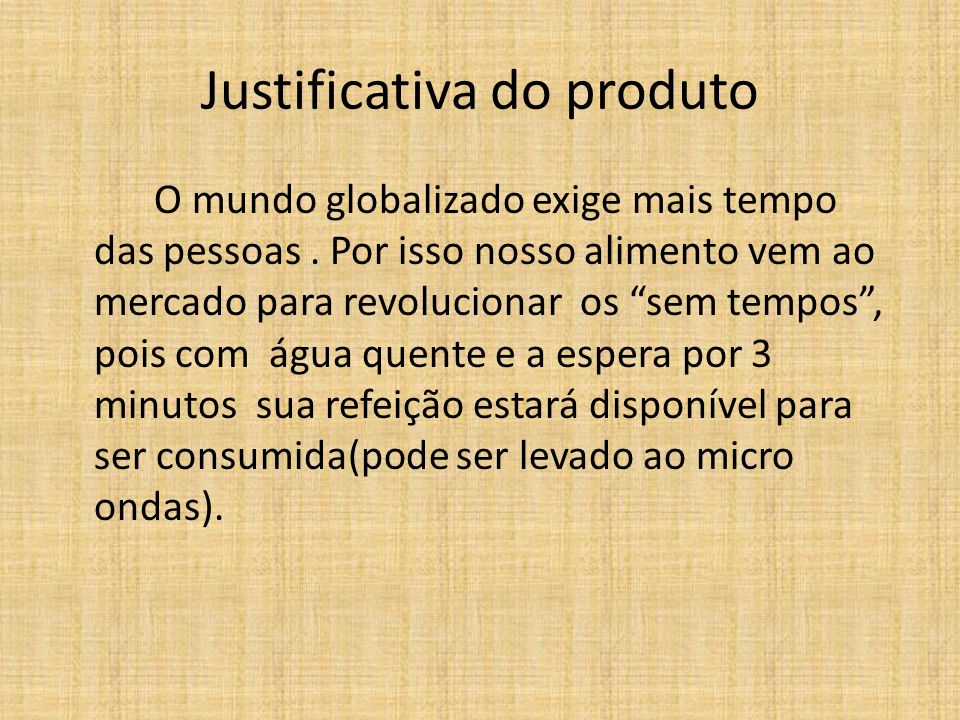 Justificativa do produto