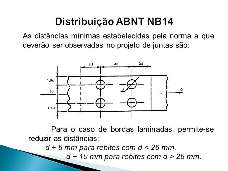 Distribuição ABNT NB14 As distâncias mínimas estabelecidas pela norma a que deverão ser observadas no projeto de juntas são: