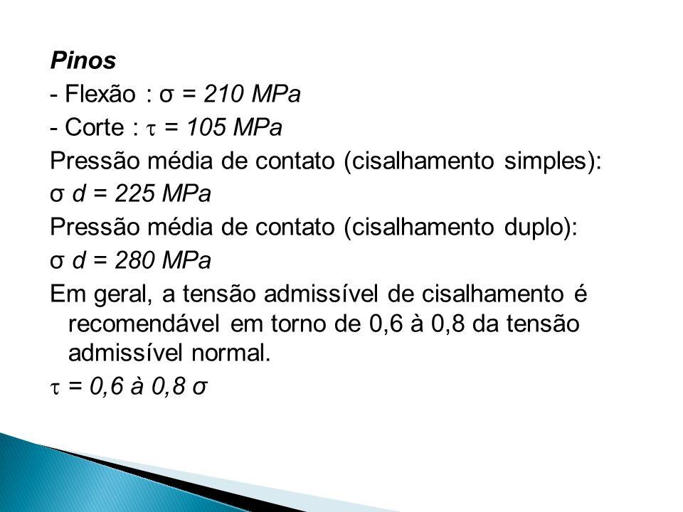 Pinos - Flexão : σ = 210 MPa - Corte :  = 105 MPa Pressão média de contato (cisalhamento simples): σ d = 225 MPa Pressão média de contato (cisalhamento duplo): σ d = 280 MPa Em geral, a tensão admissível de cisalhamento é recomendável em torno de 0,6 à 0,8 da tensão admissível normal.