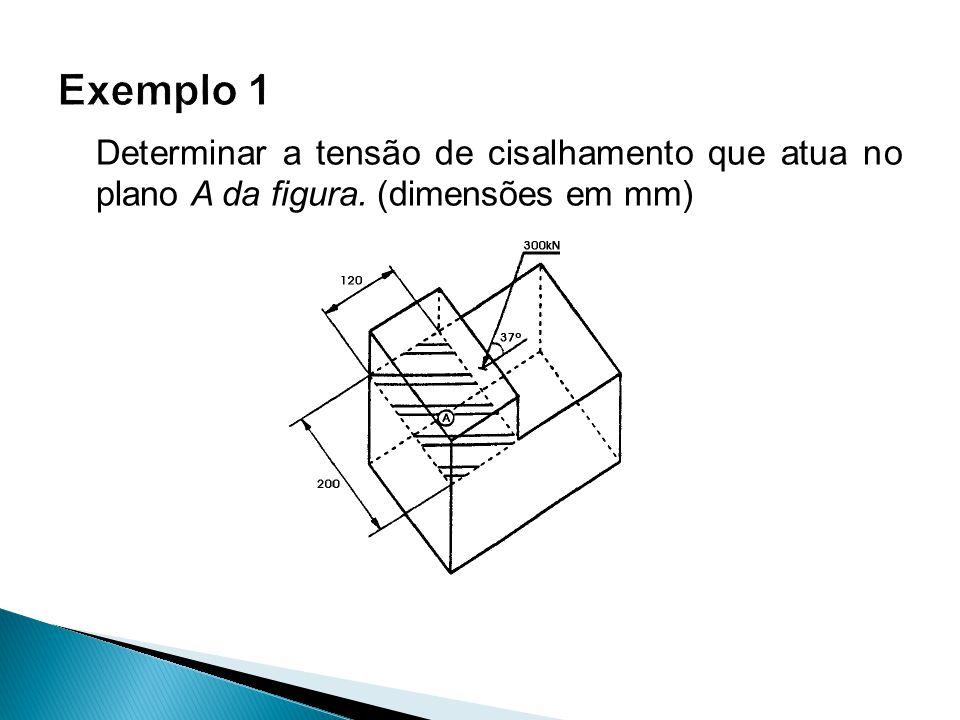 Exemplo 1 Determinar a tensão de cisalhamento que atua no plano A da figura. (dimensões em mm)