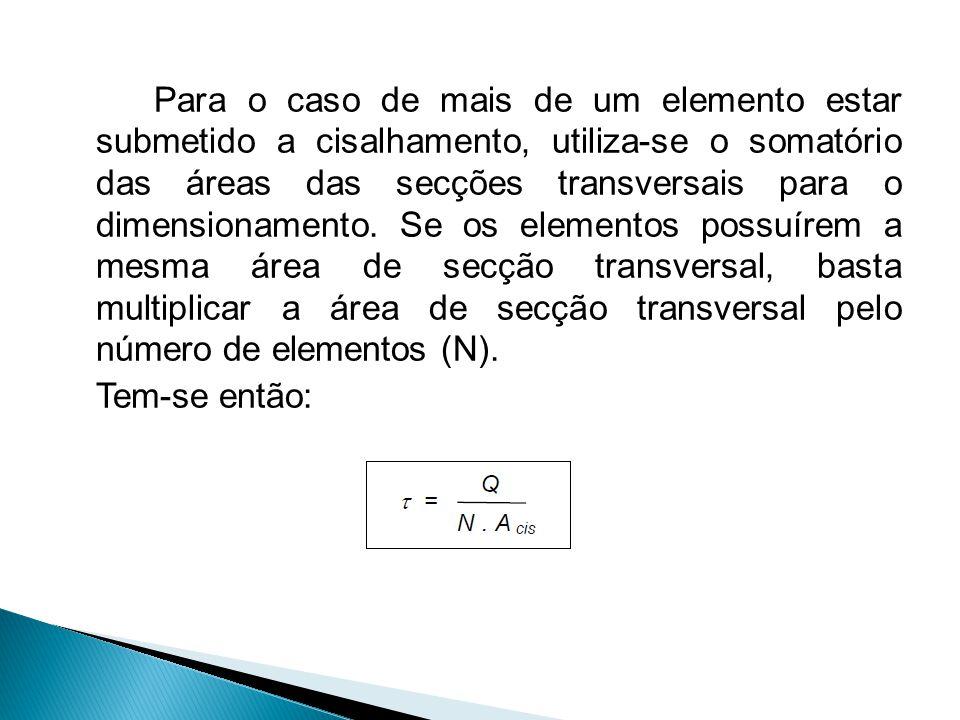 Para o caso de mais de um elemento estar submetido a cisalhamento, utiliza-se o somatório das áreas das secções transversais para o dimensionamento.