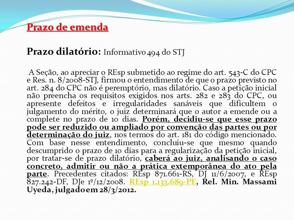 Prazo dilatório: Informativo 494 do STJ