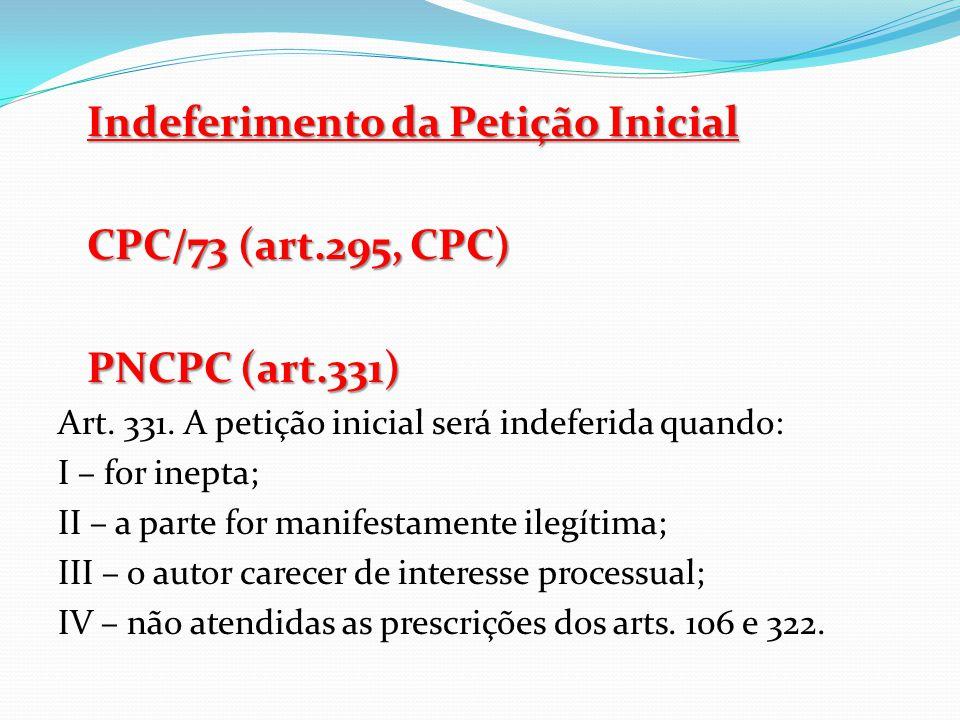 Indeferimento da Petição Inicial CPC/73 (art.295, CPC) PNCPC (art.331)