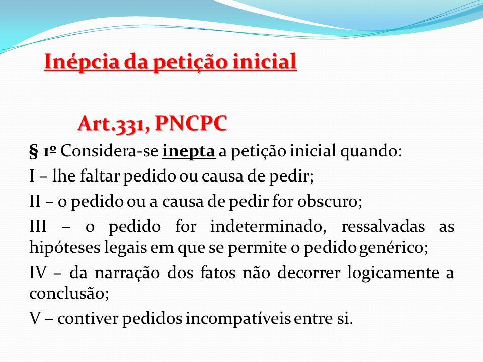 Inépcia da petição inicial Art.331, PNCPC
