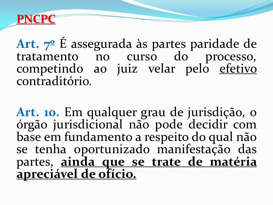 PNCPC Art. 7º É assegurada às partes paridade de tratamento no curso do processo, competindo ao juiz velar pelo efetivo contraditório.