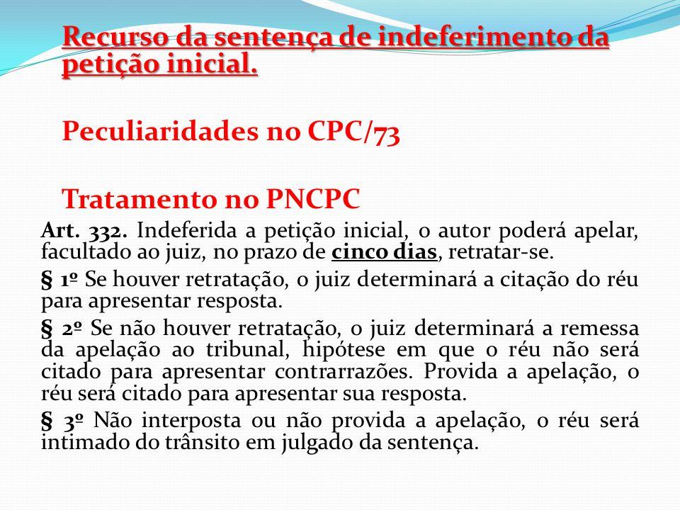 Recurso da sentença de indeferimento da petição inicial.