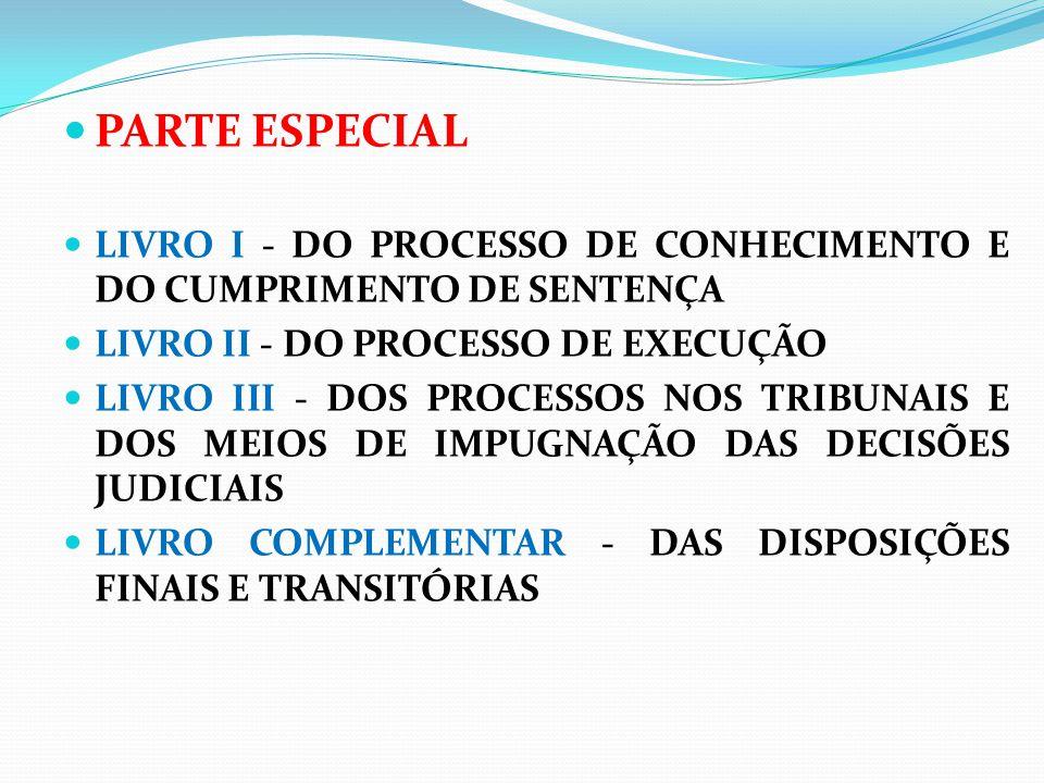PARTE ESPECIAL LIVRO I - DO PROCESSO DE CONHECIMENTO E DO CUMPRIMENTO DE SENTENÇA. LIVRO II - DO PROCESSO DE EXECUÇÃO.