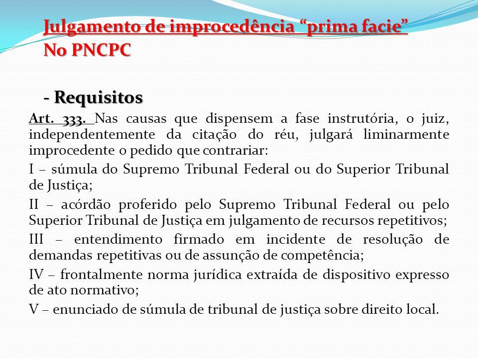 Julgamento de improcedência prima facie No PNCPC - Requisitos