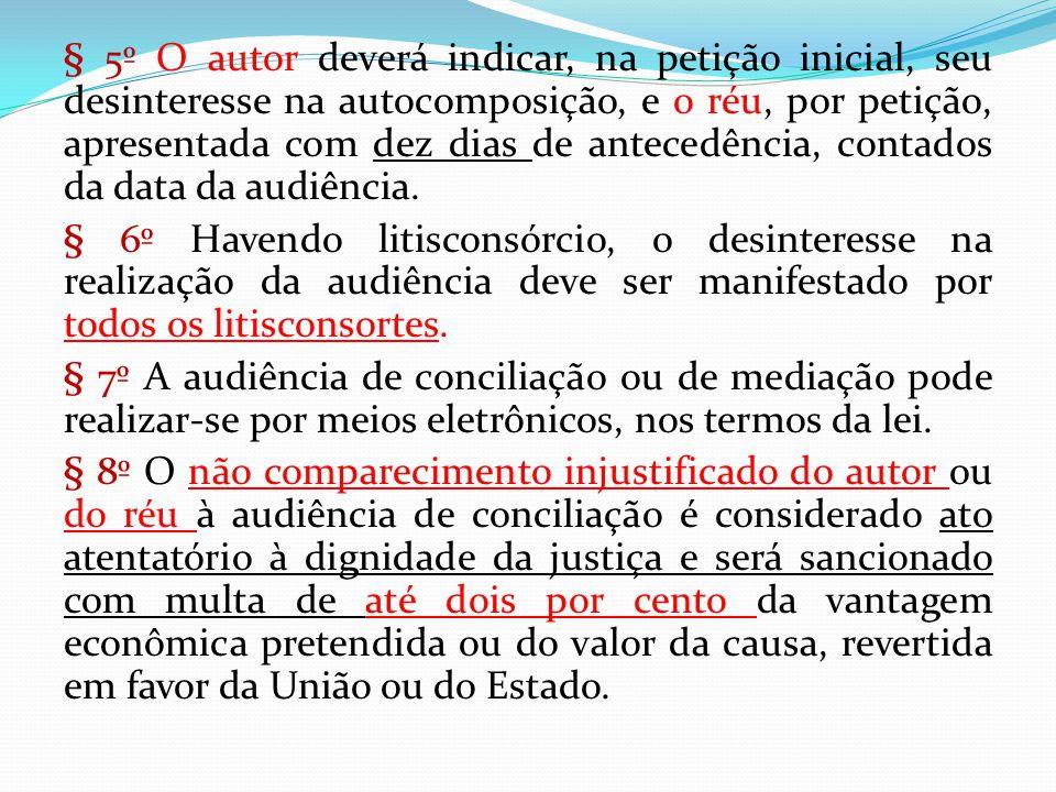 § 5º O autor deverá indicar, na petição inicial, seu desinteresse na autocomposição, e o réu, por petição, apresentada com dez dias de antecedência, contados da data da audiência.