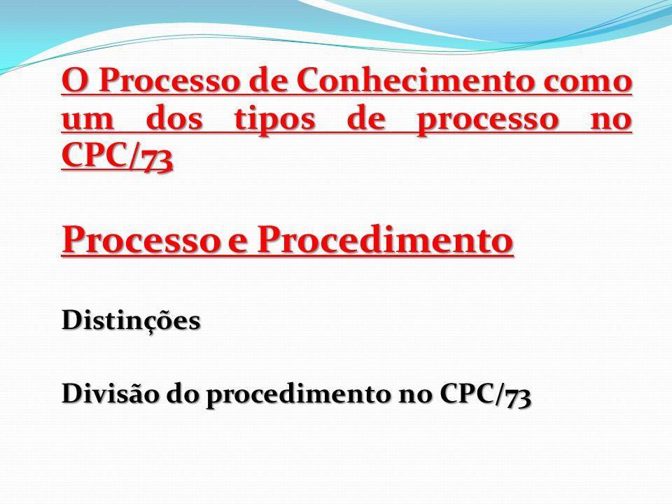 O Processo de Conhecimento como um dos tipos de processo no CPC/73