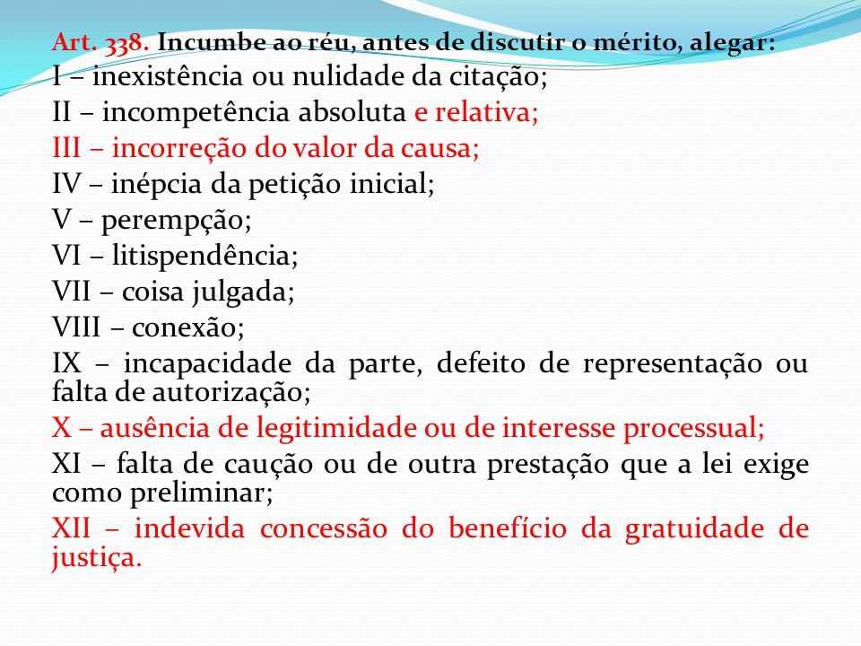 I – inexistência ou nulidade da citação;