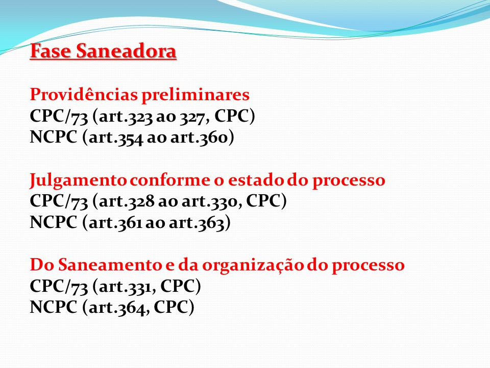 Fase Saneadora Providências preliminares CPC/73 (art.323 ao 327, CPC)