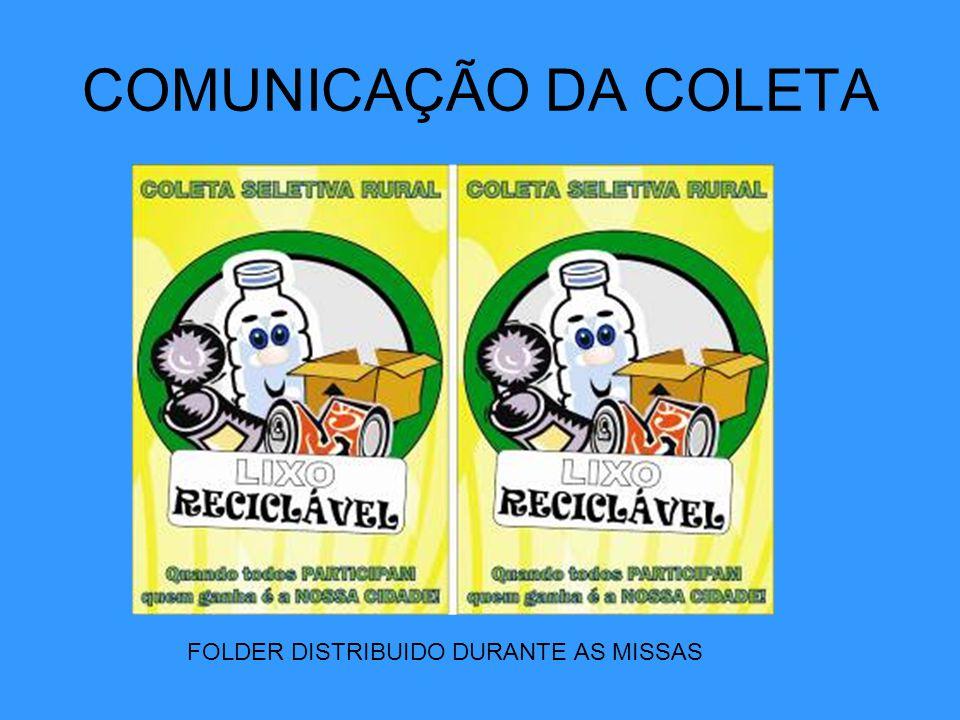 COMUNICAÇÃO DA COLETA FOLDER DISTRIBUIDO DURANTE AS MISSAS