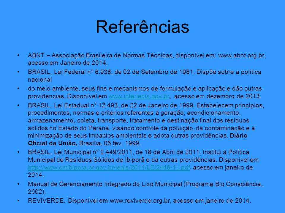 Referências ABNT – Associação Brasileira de Normas Técnicas, disponível em: www.abnt.org.br, acesso em Janeiro de 2014.