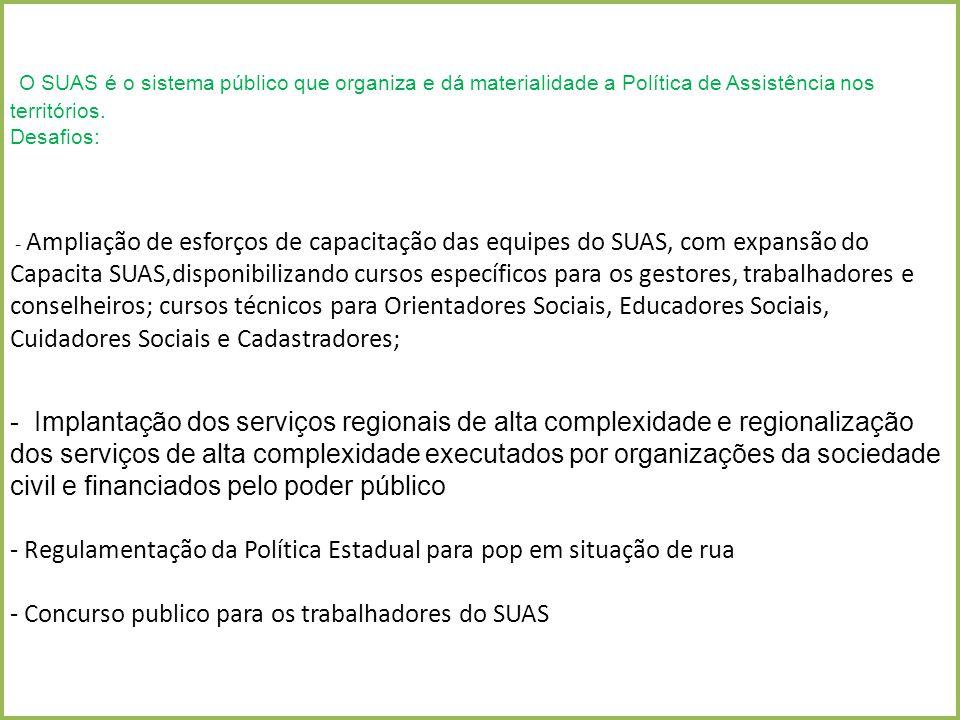 O SUAS é o sistema público que organiza e dá materialidade a Política de Assistência nos territórios.