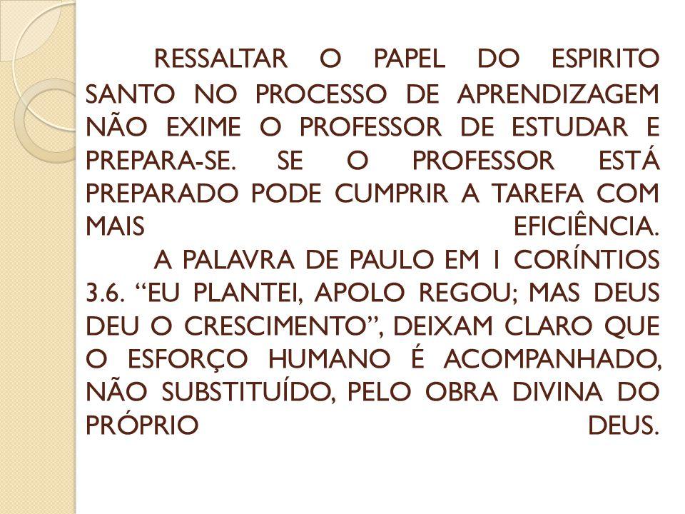 RESSALTAR O PAPEL DO ESPIRITO SANTO NO PROCESSO DE APRENDIZAGEM NÃO EXIME O PROFESSOR DE ESTUDAR E PREPARA-SE.