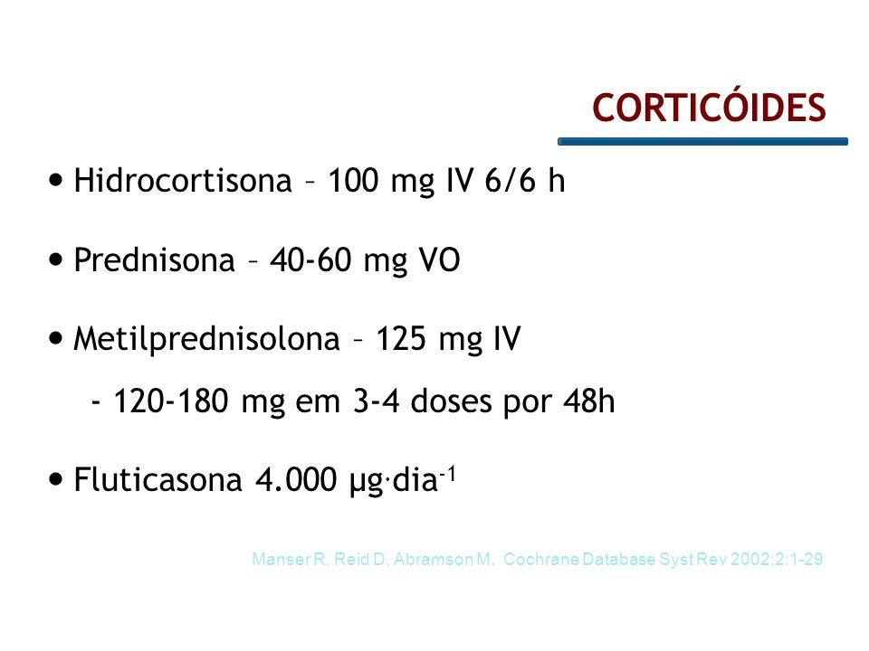 CORTICÓIDES Hidrocortisona – 100 mg IV 6/6 h Prednisona – 40-60 mg VO