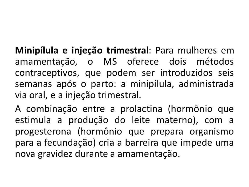 Minipílula e injeção trimestral: Para mulheres em amamentação, o MS oferece dois métodos contraceptivos, que podem ser introduzidos seis semanas após o parto: a minipílula, administrada via oral, e a injeção trimestral.
