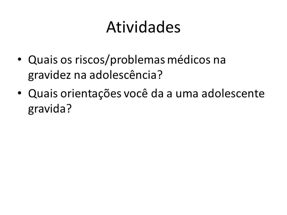 Atividades Quais os riscos/problemas médicos na gravidez na adolescência.