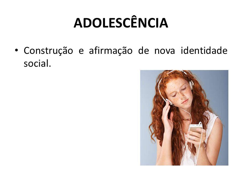 ADOLESCÊNCIA Construção e afirmação de nova identidade social.