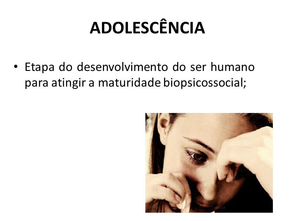 ADOLESCÊNCIA Etapa do desenvolvimento do ser humano para atingir a maturidade biopsicossocial;