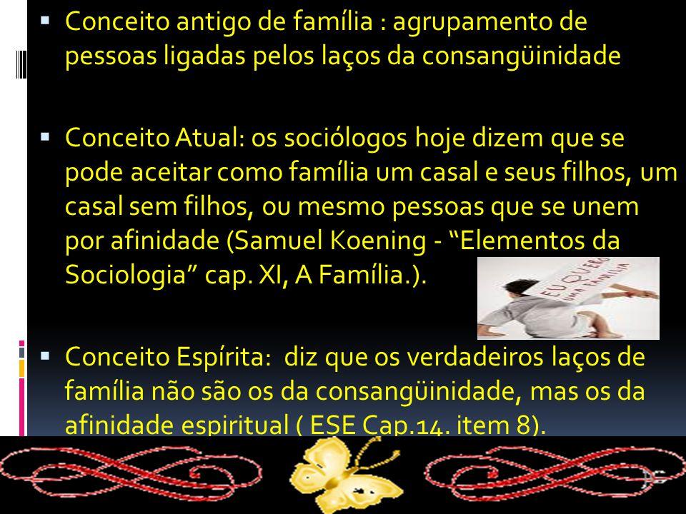 Conceito antigo de família : agrupamento de pessoas ligadas pelos laços da consangüinidade