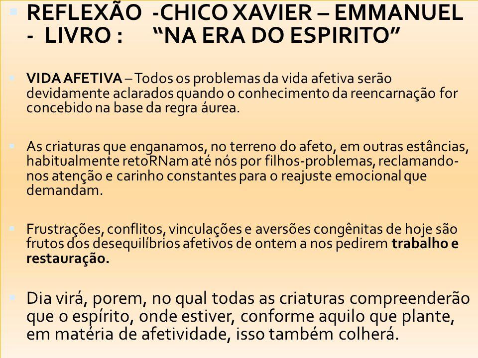 REFLEXÃO -CHICO XAVIER – EMMANUEL - LIVRO : NA ERA DO ESPIRITO