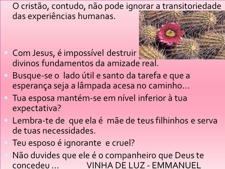 O cristão, contudo, não pode ignorar a transitoriedade das experiências humanas.