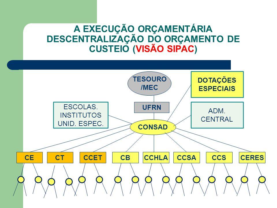 A EXECUÇÃO ORÇAMENTÁRIA DESCENTRALIZAÇÃO DO ORÇAMENTO DE CUSTEIO (VISÃO SIPAC)