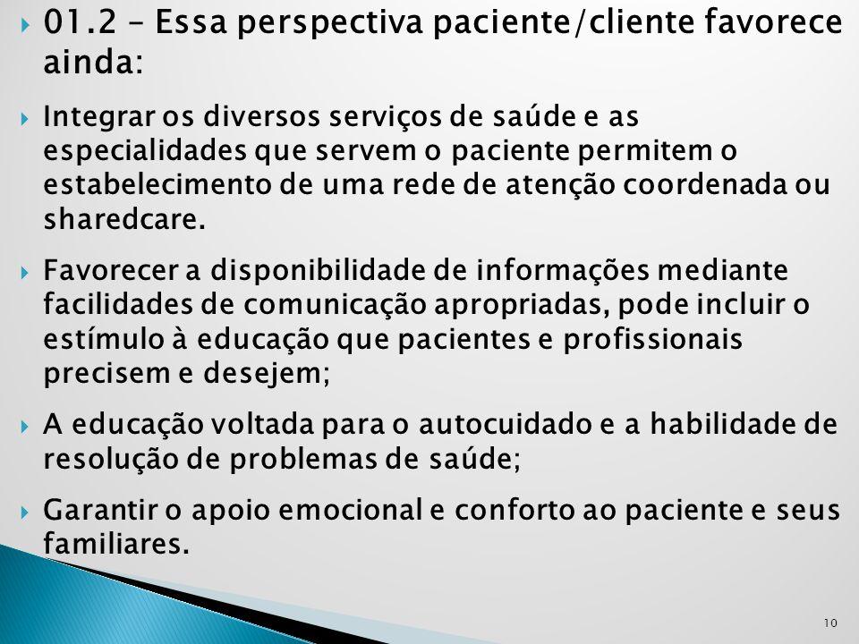 01.2 – Essa perspectiva paciente/cliente favorece ainda: