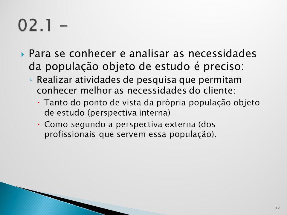 02.1 - Para se conhecer e analisar as necessidades da população objeto de estudo é preciso: