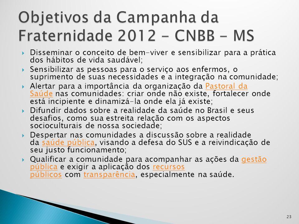 Objetivos da Campanha da Fraternidade 2012 - CNBB - MS