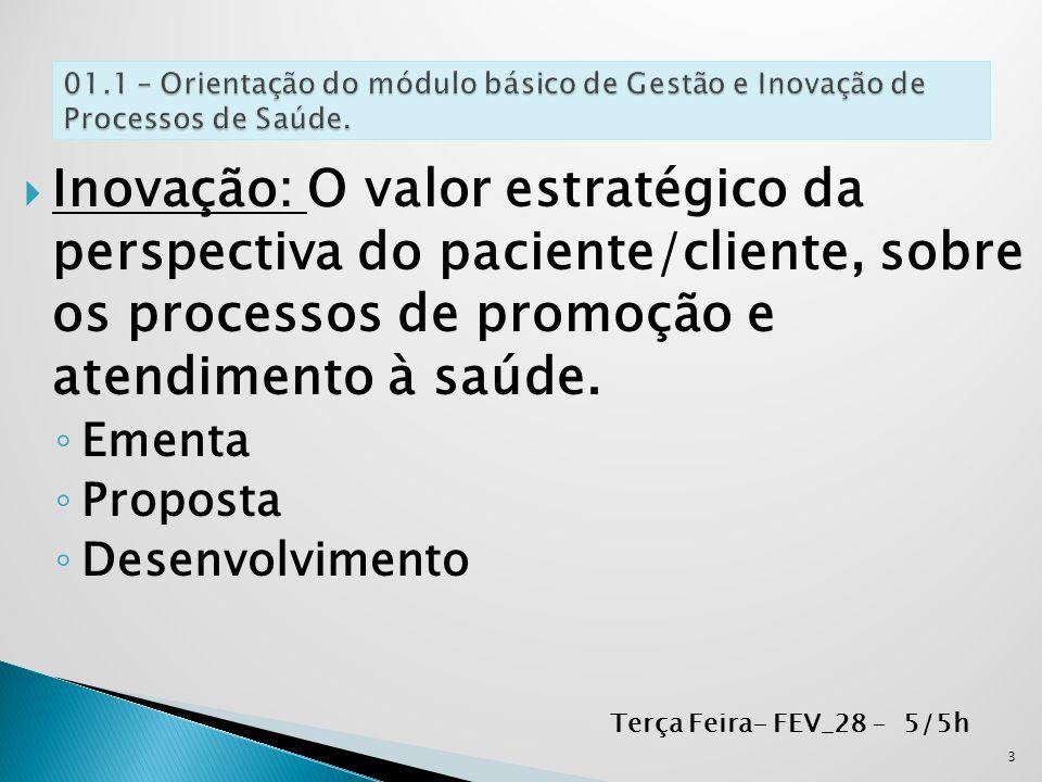 01.1 – Orientação do módulo básico de Gestão e Inovação de Processos de Saúde.