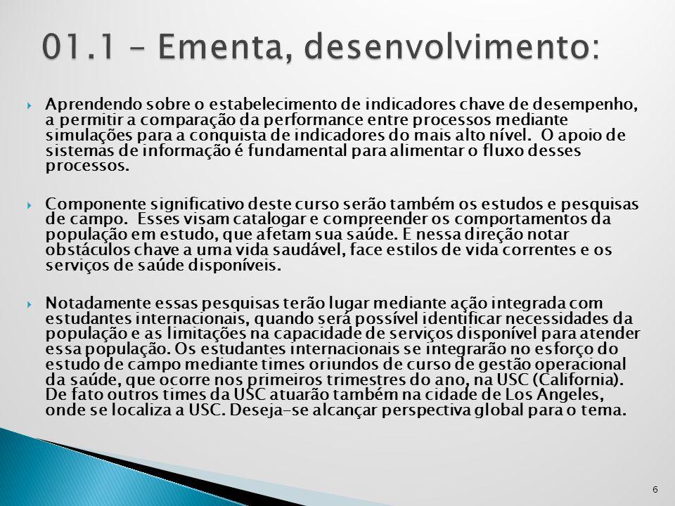 01.1 – Ementa, desenvolvimento: