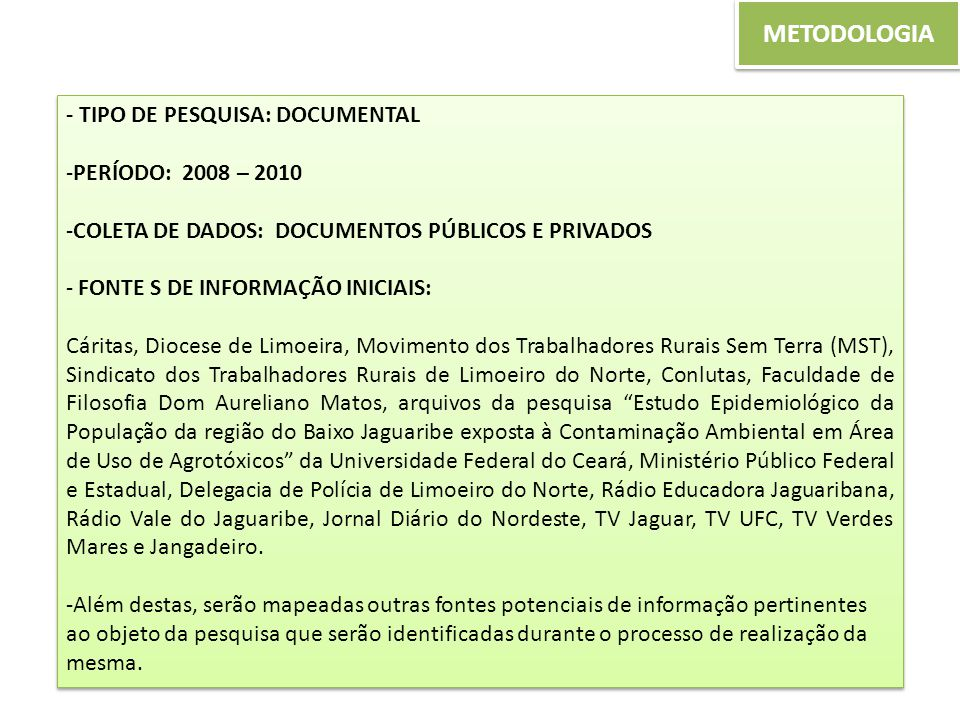 METODOLOGIA - TIPO DE PESQUISA: DOCUMENTAL PERÍODO: 2008 – 2010