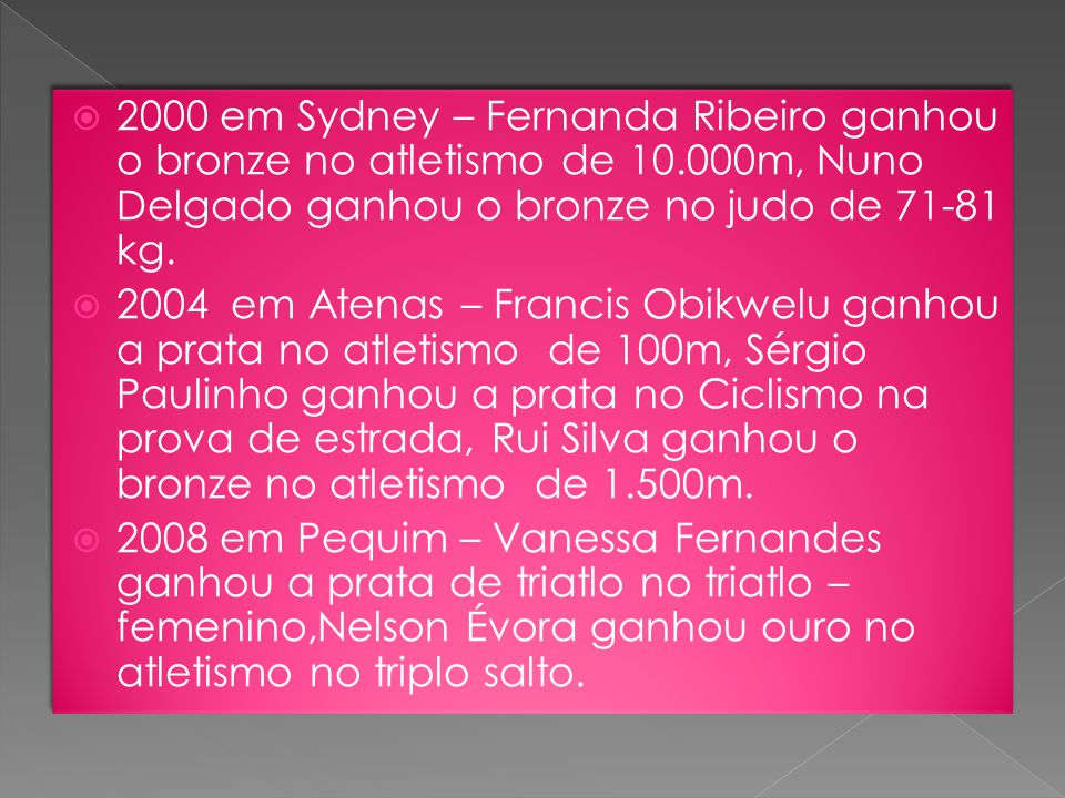 2000 em Sydney – Fernanda Ribeiro ganhou o bronze no atletismo de 10