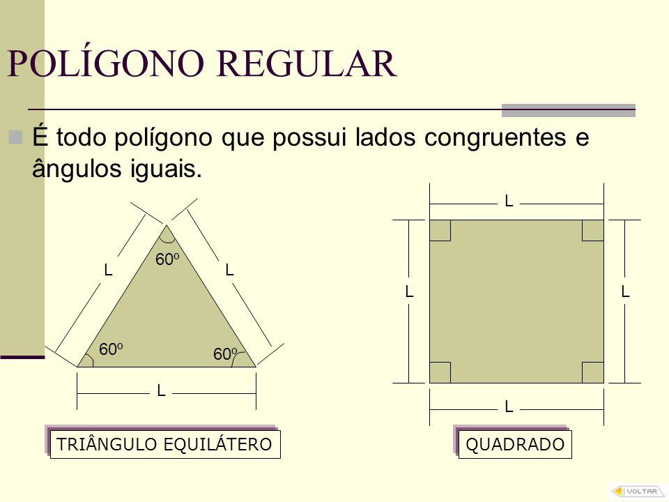 POLÍGONO REGULAR É todo polígono que possui lados congruentes e ângulos iguais. L. 60º. L. L. L.