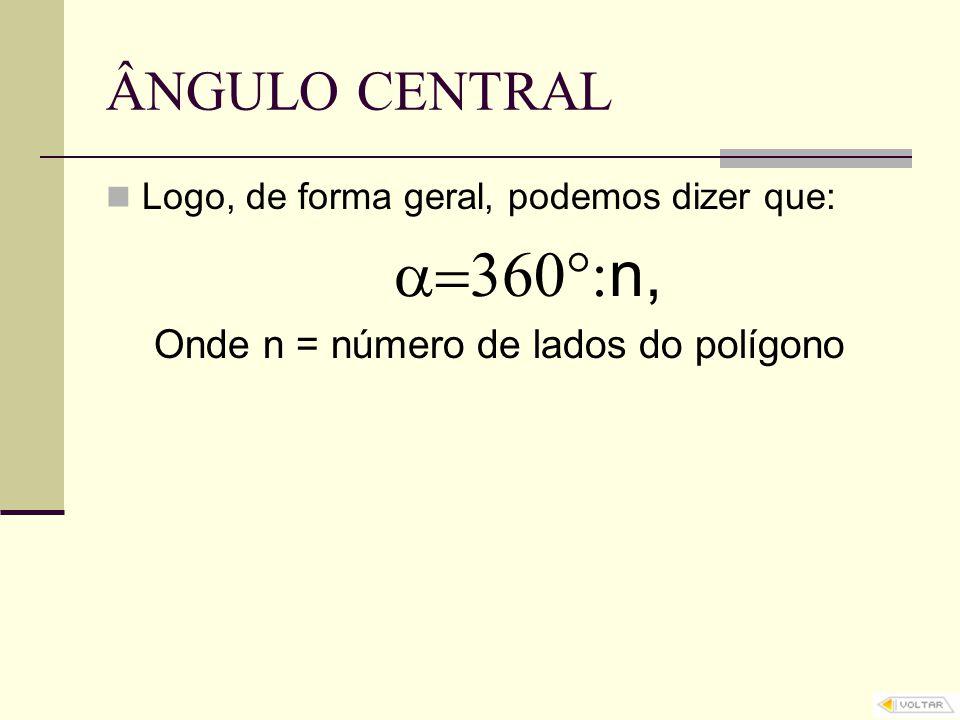 n, ÂNGULO CENTRAL Onde n = número de lados do polígono