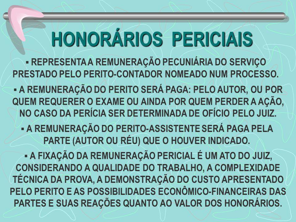 HONORÁRIOS PERICIAIS REPRESENTA A REMUNERAÇÃO PECUNIÁRIA DO SERVIÇO PRESTADO PELO PERITO-CONTADOR NOMEADO NUM PROCESSO.