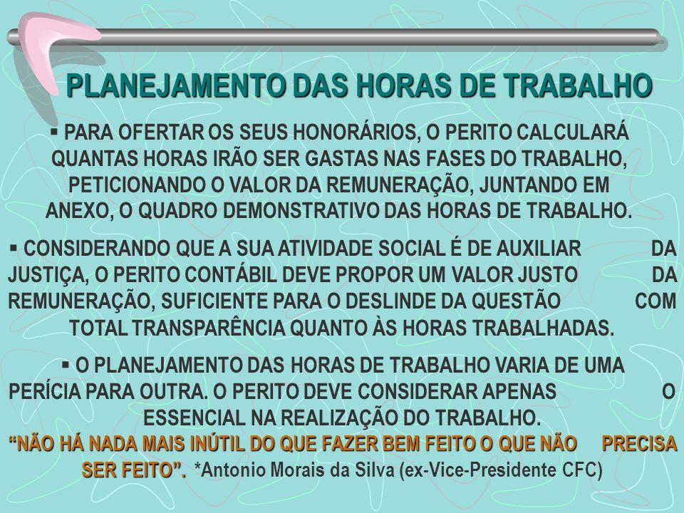 PLANEJAMENTO DAS HORAS DE TRABALHO