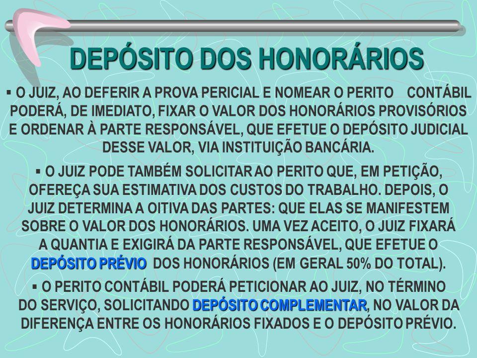 DEPÓSITO DOS HONORÁRIOS