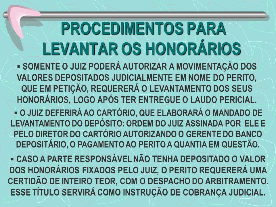PROCEDIMENTOS PARA LEVANTAR OS HONORÁRIOS