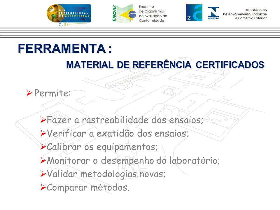 FERRAMENTA : MATERIAL DE REFERÊNCIA CERTIFICADOS
