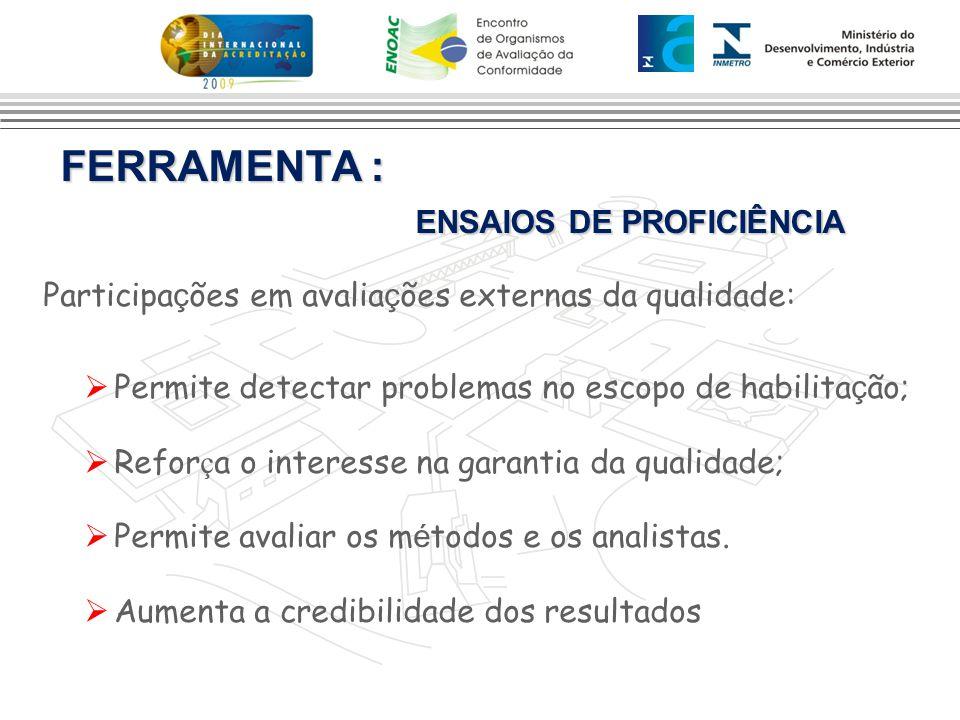 FERRAMENTA : ENSAIOS DE PROFICIÊNCIA